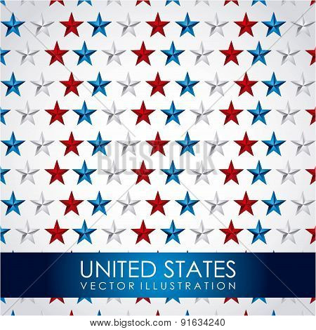 USA design over stars pattern background vector illustration