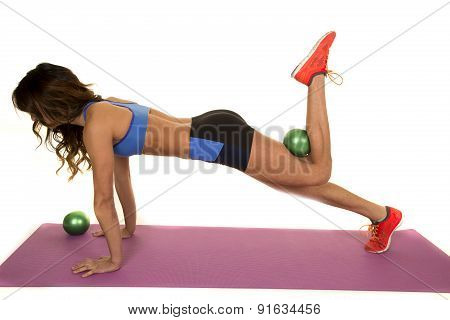Woman Fitness Blue Bra Green Ball Behind Knee Push Up