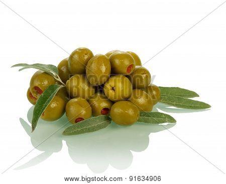 Heap of olives on white