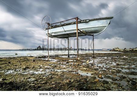 Boats On The Shore Of The Ladoga Lake In Rainy Weather