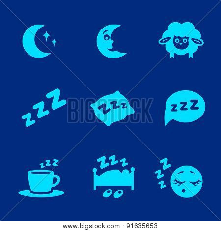 isolated white sleep concept icons set pillow, bed, moon, sheep and zzz