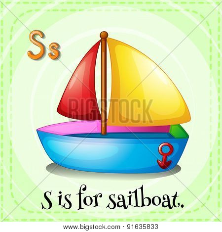 Flashcard letter S is for sailboat