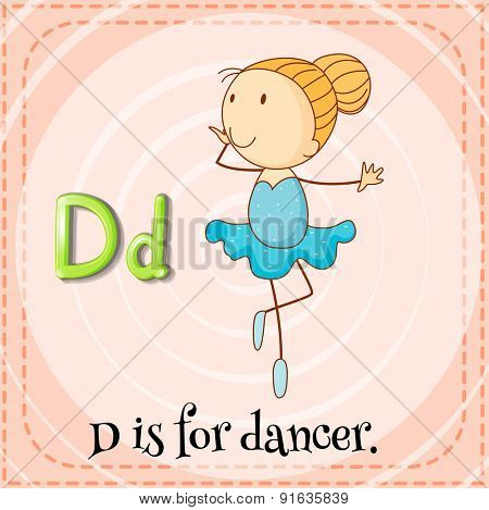 Flashcard letter D is for dancer