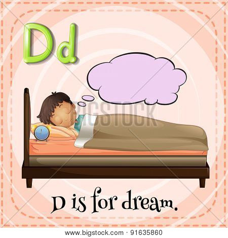 Flashcard letter D is for dream