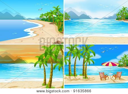Four beach scenes in different time of the day