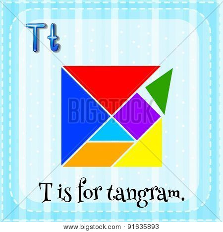 Flashcard letter T is for tangram