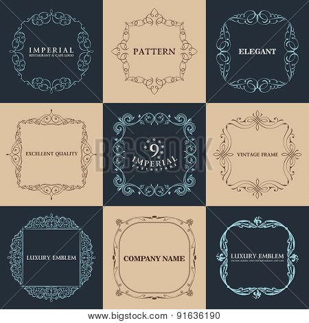 Calligraphic 9 frames set. Vector vintage elegant text border