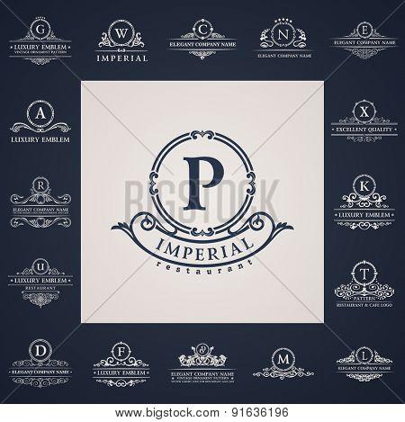 Luxury vintage logo set. Calligraphic letter elements elegant decor. Vector ornament