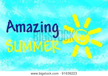 Amazing summer text on light blue background