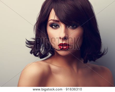 Bright Makeup Beautiful Woman With Short Black Hair Style Looking