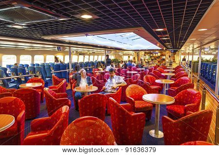 Passengers Rest Inside The Ferry