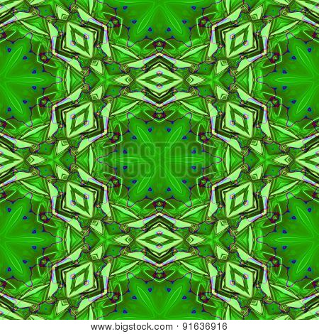 Seamless Abstract Tropical Green Geometric Texture Or Background