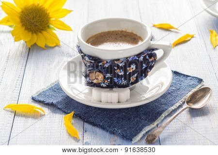 Coffee Cup Black Wooden Board Brown White Milk Sunflower