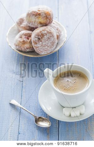 Coffee Cup Milk Sweet Dessert Donuts Icing Sugar