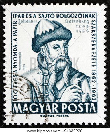 Postage Stamp Hungary 1962 Johannes Gutenberg, Printer And Publisher