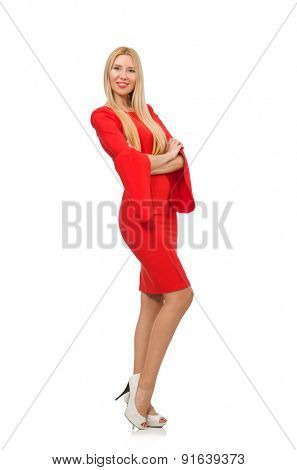 Pretty woman in red dress isolated on white
