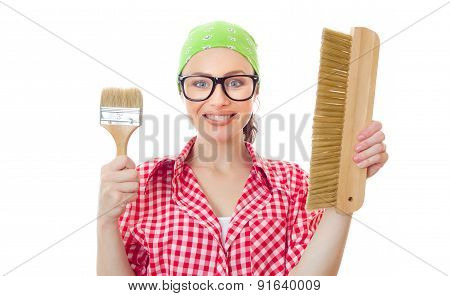 Happy Woman Holding Paint Brush, Girl Ready For Painting, Isolated On White