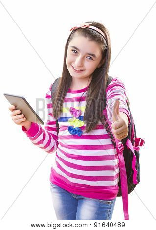 Teenager Girl with Backpack and Digital Tablet