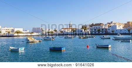 Boats In Charco De San Gines, Old Harbor In Arrecife