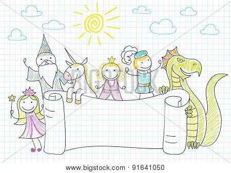 Vector banner with characters of fairy-tales. Sketch on notebook page