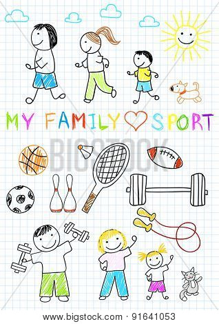 Happy family - mother, father and children, doing exercises. Vector sketch on notebook page.