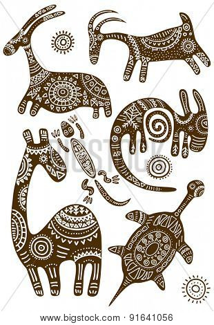 Collection of vector African traditional patterns with animals