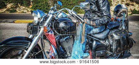 Man On A Classic Motorcycle In Hdr