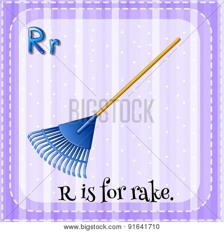 Flashcard letter R is for rake