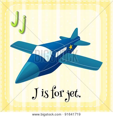 Flashcard letter J is for jet