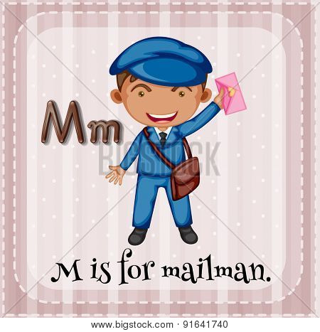 Flashcard letter M is for mailman