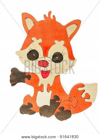 Colorful wooden puzzle in fox shape on isolated background