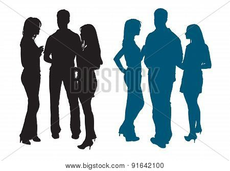 Silhouettes Of A Group Of Young Women And Man