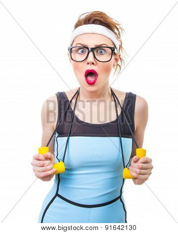 Surprised Funny Woman With Expander, Fitness Girl Over White Background