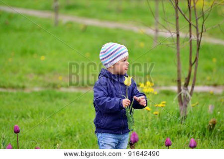 Two Year Old Girl On Walk In The Park