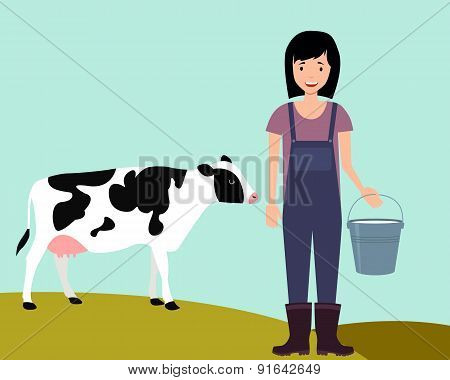 Concept agriculture. Woman farmer holding a bucket of milk on the background cow. Vector illustratio