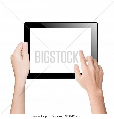 Closeup Hand Using Tablet Isolated White Clipping Path Inside