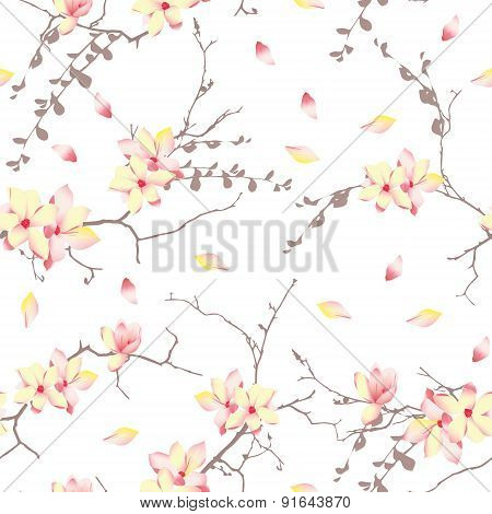 Spring sunny trees vector print