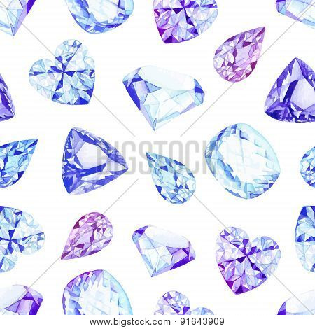 Blue And Violet Crystals Watercolor Seamless Vector Pattern