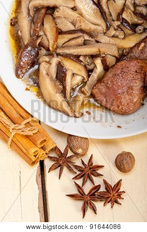 Venison Deer Game Filet And Wild Mushrooms