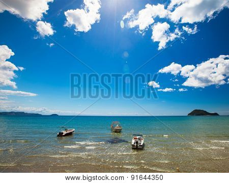 Fishing boats  in the Ionian sea in Greece