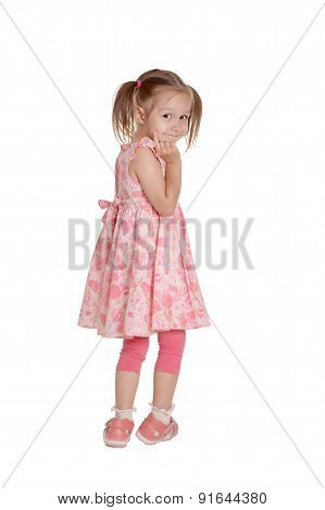 little girl with pink dress