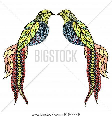 Unusual stylized birds.