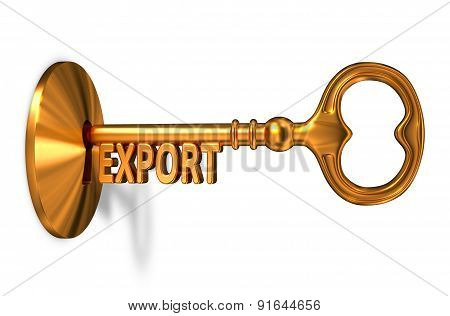 Export - Golden Key is Inserted into the Keyhole.