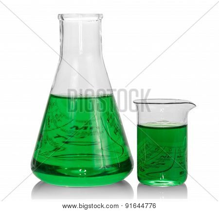 Chemical flasks with green liquid