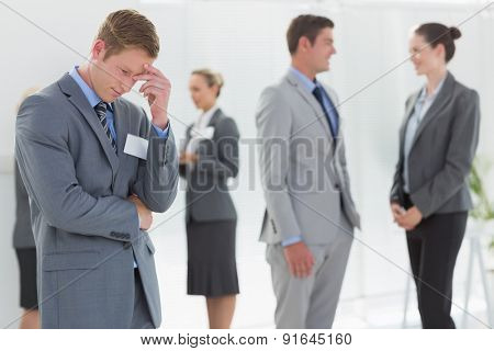 Anxious businessman in the meeting room