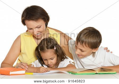 Mother doing homework