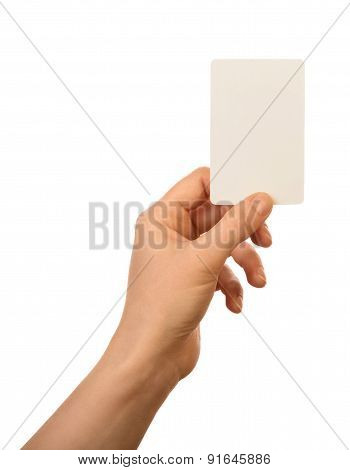 Blank card in hand