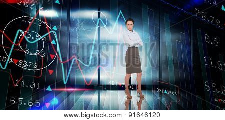 Businesswoman with arms crossed against stocks and shares