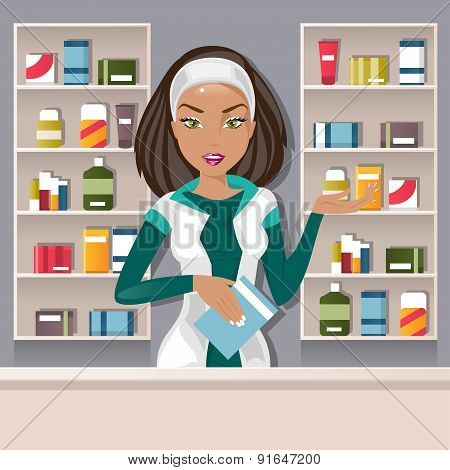 Female Pharmacist. Vector Illustration