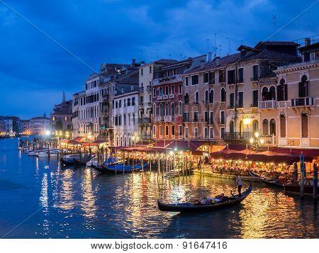 Venice, Italy - 20 May 2105: View From The Rialto Bridge At Dusk.